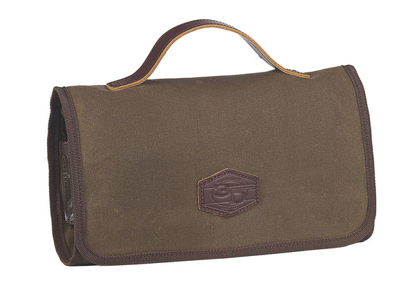 Toiletry Bag Trifold Brown Canvas