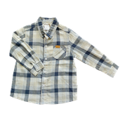 Love Henry Kids Dress Shirt Blue & Taupe Check