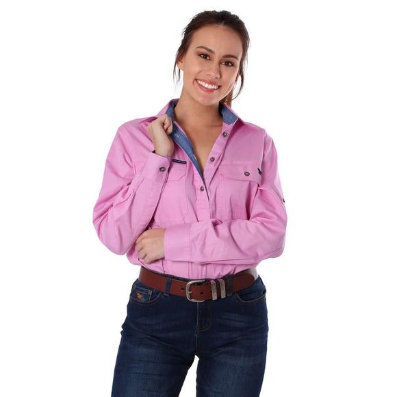 Ringers Western Pentecost River Wmns 1/2 Button Shirt Pastel Pink