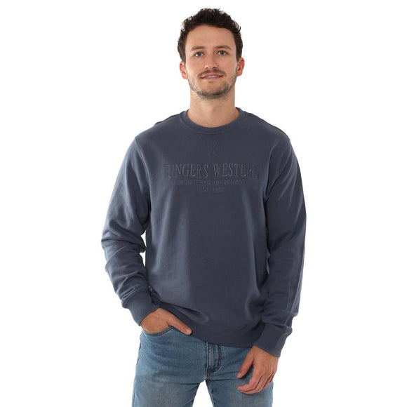 Ringers Western Dunsborough Mens Crew Neck Pullover Yale Blue