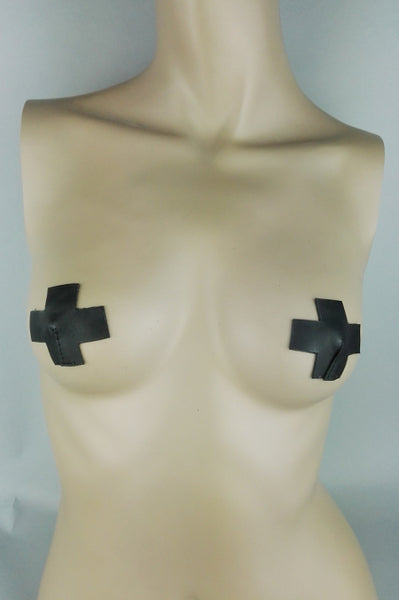 Cross leather nipple pasties
