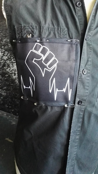 Fist pin on patch