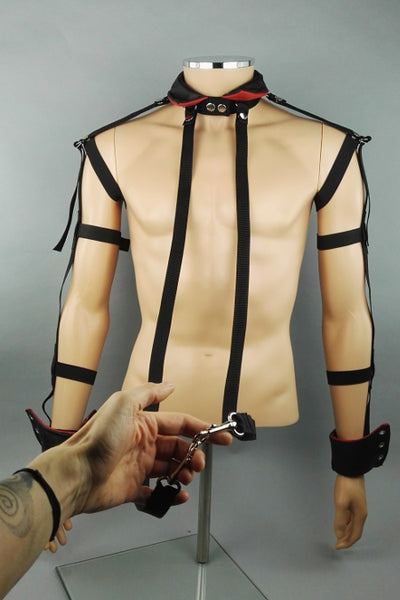 Leather collar and cuffs set
