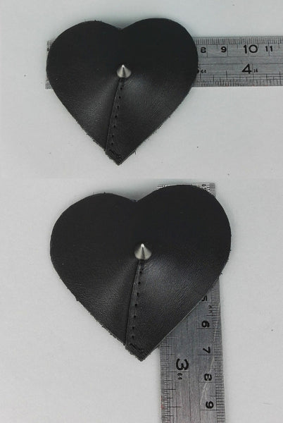 Heart shaped leather nipple pasties