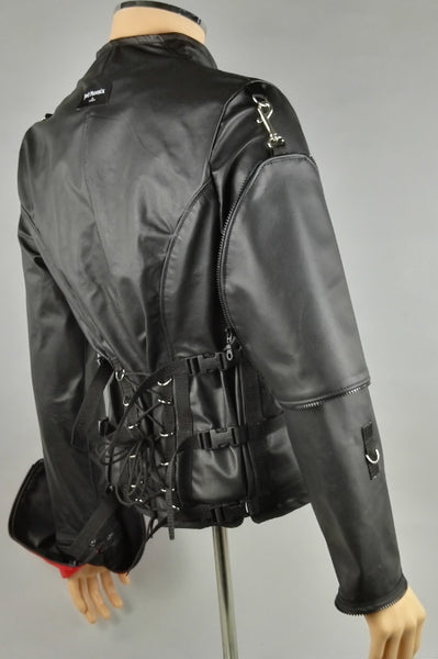 Leather bondage straight jacket