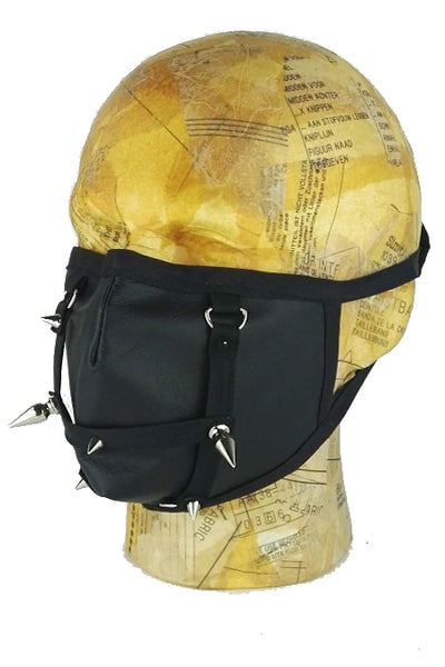 Leather face mask with filter pocket