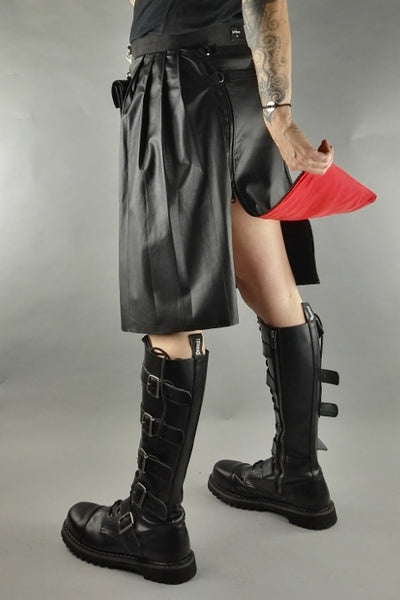 Leather knee length kilt
