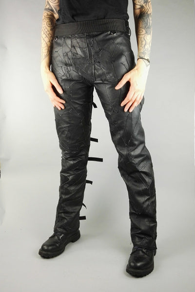Patchwork leather bondage trousers