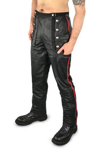Leather military style trousers