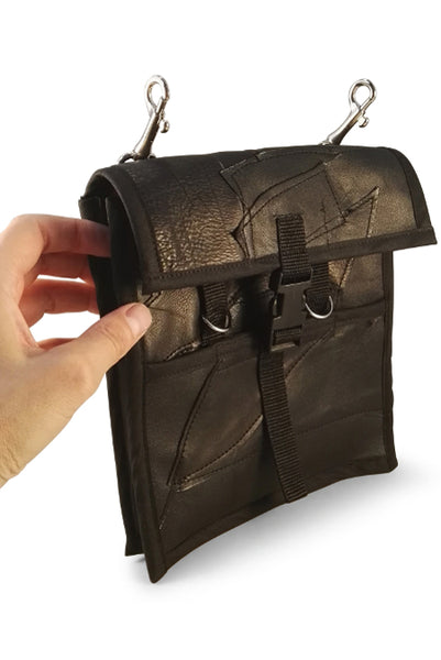Patchwork leather utility pocket