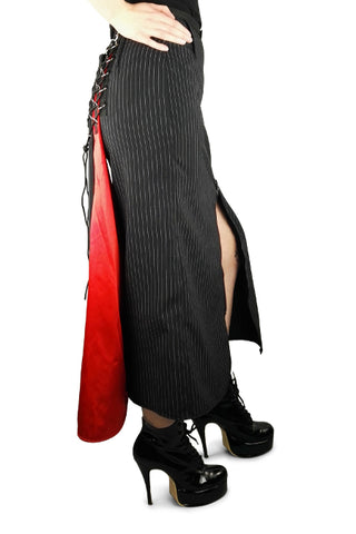 Pinstripe skirt with red satin detail