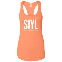 Load image into Gallery viewer, SIYL- Stay In Your Lane Ladies Ideal Racerback Tank (logo back)