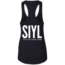 Load image into Gallery viewer, SIYL- Stay In Your Lane Ladies Ideal Racerback Tank (logo front)