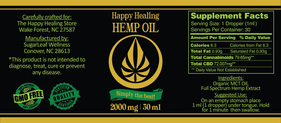 Simply The Best! Happy Healing PCR Full Spectrum Hemp Oil 2000mg