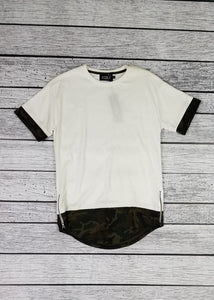 CAMO LAYERED TEE W/ZIPPER