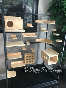Kiln Dried Pine Chinchilla 18 Piece Ledge set with Poop Guards + Mounting Hardware