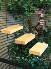 Load image into Gallery viewer, Set of 3 small Kiln Dried Pine Chinchilla Ledges + Mounting Hardware