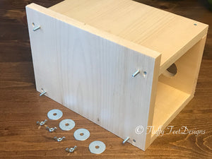 Kiln Dried Pine Chinchilla Wood PEEK A BOO Tunnel with poop guard + Mounting Hardware