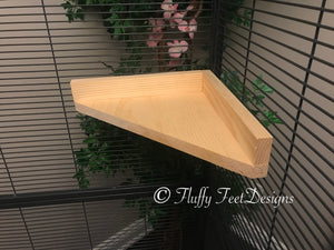 14 inch Kiln Dried Pine Chinchilla Corner Ledge with Poop Guard and Mounting Hardware
