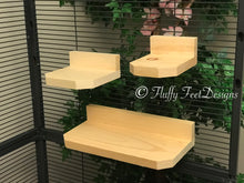 Load image into Gallery viewer, Kiln Dried Pine Chinchilla 3 Piece Ledge set with Poop Guards + Mounting Hardware