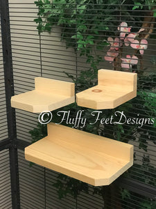 Kiln Dried Pine Chinchilla 3 Piece Ledge set with Poop Guards + Mounting Hardware