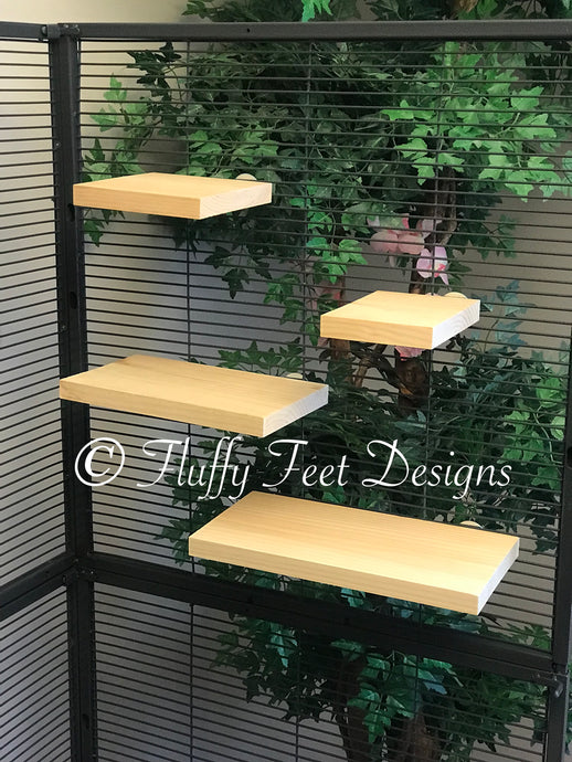 Kiln Dried Pine 4 Piece Chinchilla Ledge Set + Mounting Hardware