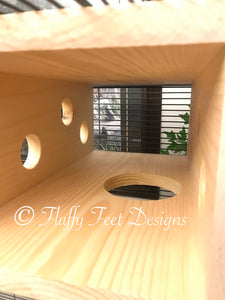 Kiln Dried Pine Xtra Large Peek-A-Boo Tunnel and 5 1/2 inch ledge + Mounting Hardware