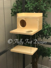 Load image into Gallery viewer, Large Kiln Dried Pine Chinchilla Wood House with Poop Guard, Balcony, Swing + Mounting Hardware