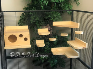 Kiln Dried Pine Chinchilla 9 Piece Ledge set with Poop Guards + Mounting Hardware