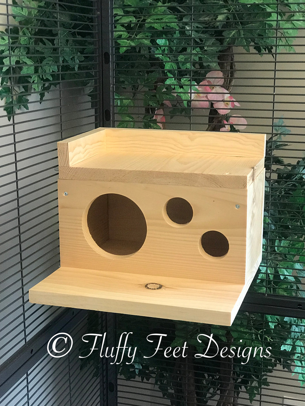 Kiln Dried Pine Chinchilla Wood House with Poop Guard, Balcony + Mounting Hardware