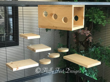 Load image into Gallery viewer, Peek-a-boo  Chinchilla 8  Piece Ledge set with Poop Guards + Mounting Hardware Kiln Dried Pine
