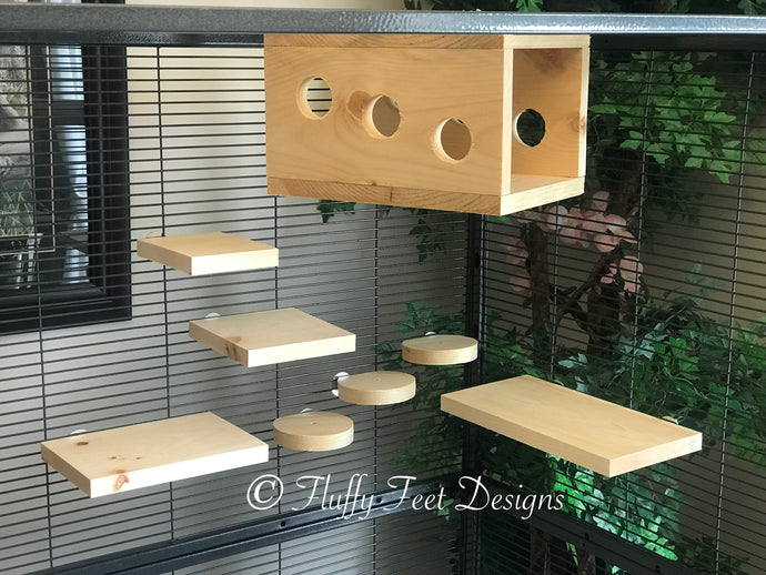 Peek-a-boo  Chinchilla 8 Piece Ledge set with Poop Guards + Mounting Hardware Kiln Dried Pine