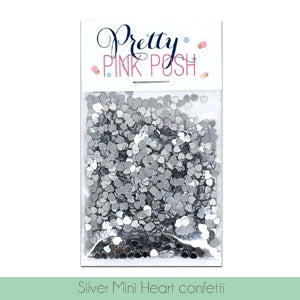Silver Mini Heart Confetti