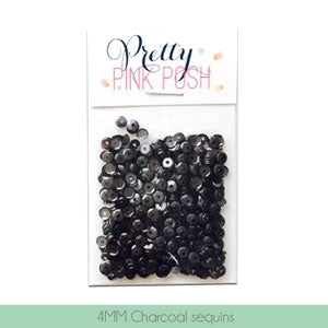 4mm Charcoal Sequins - Cupped Sequins