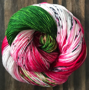 Dragon Fruit- Hand Dyed Nomad Superwash Merino  Sock Fingering Yarn