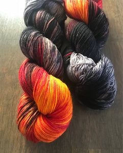Eye of Sauron- Hand Dyed Superwash Merino Nomad Sock Fingering Yarn
