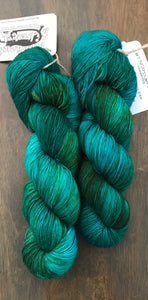Chrysocolla- Hand Dyed Nomad Superwash Merino and Nylon Fingering Sock Yarn