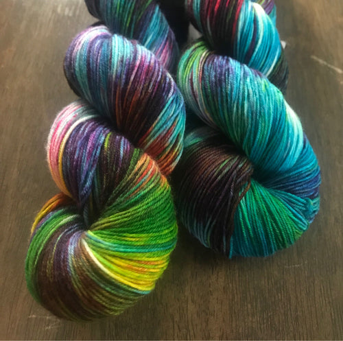 Electric Avenue- Hand Dyed Nomad Superwash Merino Sock Fingering Yarn