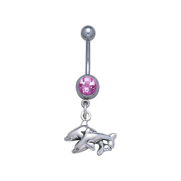Double Dolphins Sterling Silver Body Jewelry BJ023