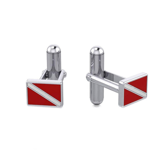Dive Flag Sterling Silver Cuff Links CL041