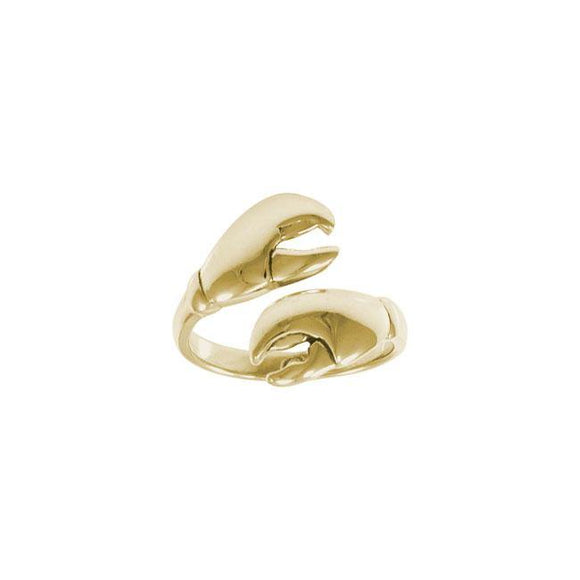Lobster Claw Silver Wrap Solid Gold Ring GRI1416