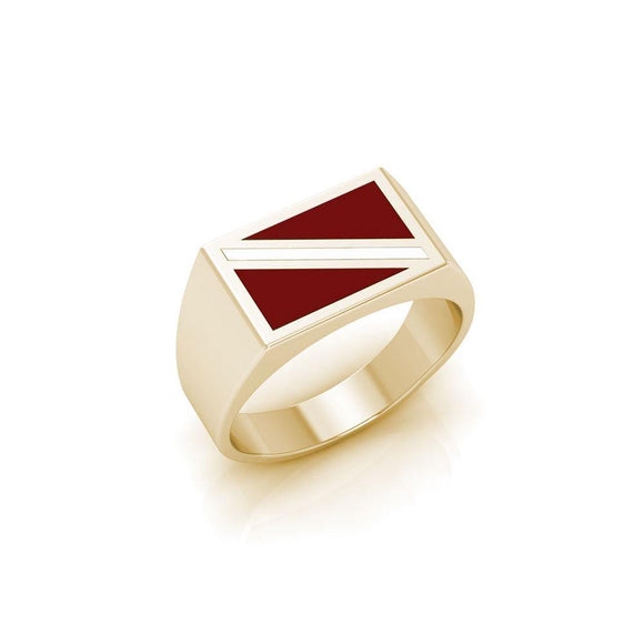 Large Dive Flag Solid Gold Ring with Enamel GTR1796