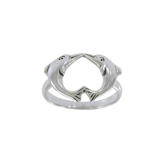 Love Dolphins Sterling Silver Ring JR186