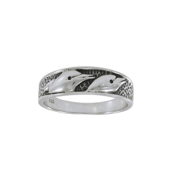 Dolphins Sterling Silver Ring JR324 - Rings