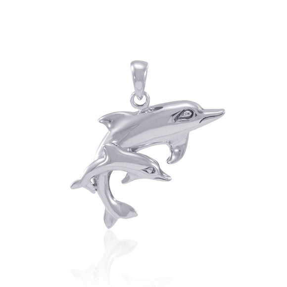 Mother and Child Dolphins Sterling Silver Pendant MG383