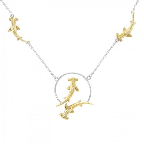 Quadruple Hammerhead Shark Sterling Silver and Gold Necklace MNC296