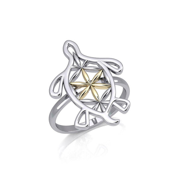 Turtle with Flower of Life Shell Silver and Gold Ring MRI1894