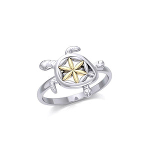 Swimming Turtle with Flower of Life Shell Silver and Gold Ring MRI1895
