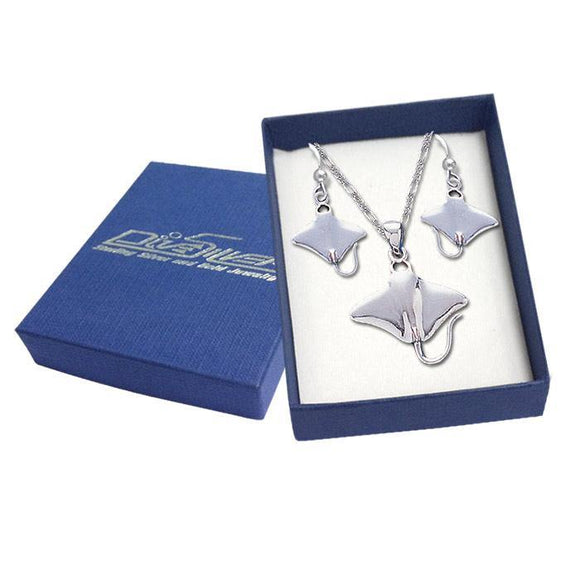Sterling Silver Mantaray Pendant and Earring Gift Box SET029 - Box Sets