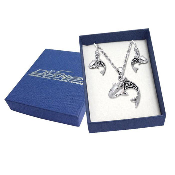 Sterling Silver Celtic Shark Pendant and Earrings Gift Box SET037 - Box Sets